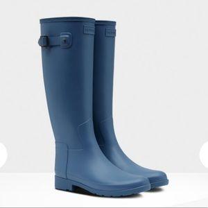 NEW • Hunter • Original Tall Matte Rain Boots Blue